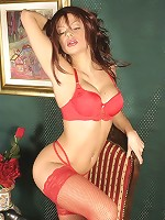 Mommy in sexy red lingerie and high-heeled boots