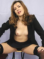Brunette mom stripping her business suit revealing her satisfaction starved body