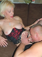 Mature slut fucking and sucking her younger boyfriend